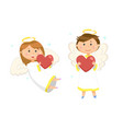 woman and man with wings and nimbus angels vector image vector image