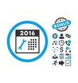 2016 Service Calendar Flat Icon with Bonus vector image vector image