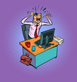 angry furious male businessman works at an office vector image vector image