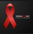 banner with aids awareness red ribbon aids day vector image vector image
