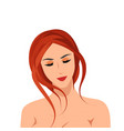 beautiful relaxed nude girl isolated on white vector image