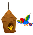 Bird feeding the chick with worm vector image vector image