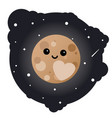 cartoon dwarf planet pluto in the sky vector image vector image