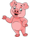 cartoon happy pig presenting vector image