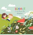 cartoon summer with happy kids vector image vector image