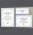 certificate template floral set vector image vector image