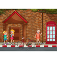 Children on street vector image vector image