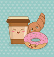 coffee with donuts kawaii characters vector image vector image