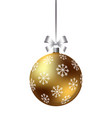 decorative christmas ball with ribbon and bow vector image