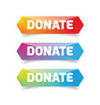donate button set low poly vector image vector image