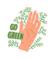 eco sticker with go green inscription and human vector image vector image