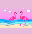 elegant two pink birds - flamingo and lifebuoy in vector image