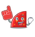 foam finger quadrant mascot cartoon style vector image vector image