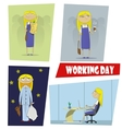 Four fun cartoon of the working day vector image vector image