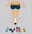 girl measuring her waist with feet on weighing vector image