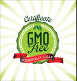 gmo free certificate background vector image vector image
