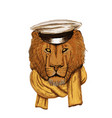 hand drawn lion head with hat and skarf lion face vector image