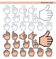 hand pixel icons vector image vector image