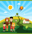 happy family with house on sunny day on field vector image vector image