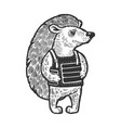 hedgehog in body armor sketch engraving vector image