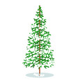 isolated simple christmas tree under snow cover vector image vector image