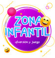 kids zone game banner design background zona vector image vector image