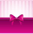 pink background with bow striped pattern vector image vector image