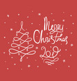red doodle merry christmas lettering vector image