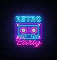 retro party neon poster card or invitation vector image