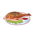 sea fish with sauce isolated icon vector image