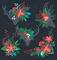set of colorful christmas floral bouquets with vector image vector image