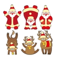 Set of cute santa claus and Christmas deer vector image