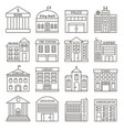 set of government buildings in line style vector image