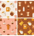 set seamless patterns with coffee items vector image vector image