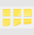 set yellow paper adhesive stickers vector image vector image