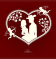 silhouette of a heart with a loving couple and vector image vector image