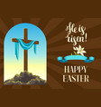 silhouette of wooden cross with shroud happy vector image vector image