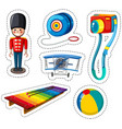 sticker design with different toys vector image vector image
