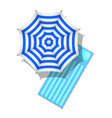 striped beach umbrella and air mattress vector image vector image