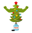 Strong Christmas tree Bodybuilder Tree athlete vector image vector image