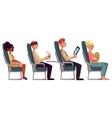 Various passengers man and women in airplane vector image vector image