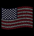 waving usa flag stylized composition of sickle and vector image
