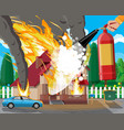 wooden house burns fire in cottage vector image vector image