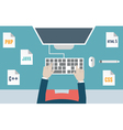 Workplace of programmer and process coding vector image vector image