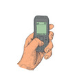 hand with old mobile phone vector image