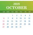2019 calendar template - october vector image vector image
