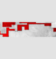 abstract red grey tech geometric grunge banner vector image vector image