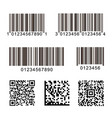bar codes set qr code digital vector image vector image
