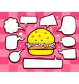 big burger with speech comics bubbles on vector image