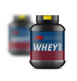 black whey protein jar and blured one behind vector image